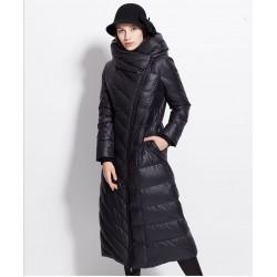 Zimowy wodoodporny długi płaszcz - kurtka puchowa z kapturem - rozmiar plus