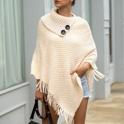 Sweter z dzianiny z frędzlami - ponczo z guzikami - szal