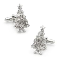 Manchetknopen met een zilveren kerstboom