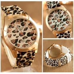 Modische Edelstahluhr mit Leopardenmuster - Silikonband