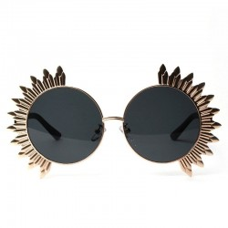 Okrągłe okulary przeciwsłoneczne w stylu vintage z nitami - UV 400