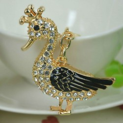 Crystal black duck - keyring