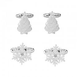 Srebrne spinki do mankietów z płatkiem śniegu i choinką