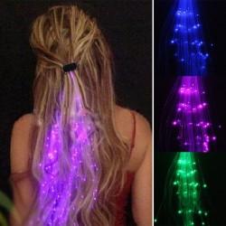 Świecące włosy - spinka do włosów z kolorowymi świecącymi sznurkami LED - 2 sztuki