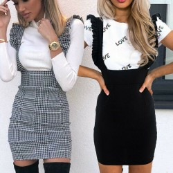 Elegant dress with suspenders - high waist