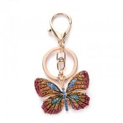 Kryształowy motyl - brelok do kluczy