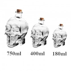 Cranio con testa di cristallo - decanter per vodka e vino - 180 ml - 400 ml - 750 ml