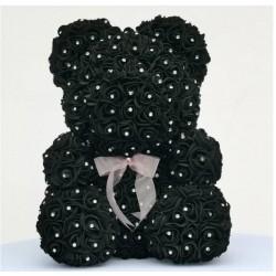 Różany miś - niedźwiedź wykonany z róż nieskończoności z brylantami - 25 cm - 35 cm