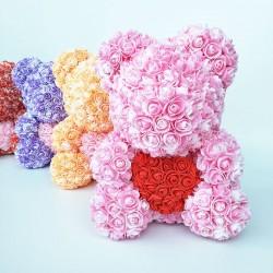 Różany miś - niedźwiedź wykonany z róż nieskończoności z sercem - 25 cm - 35 cm