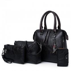 Elegancka skórzana torebka - zestaw 4 sztuk