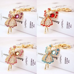 Crystal angel with wings - keyring