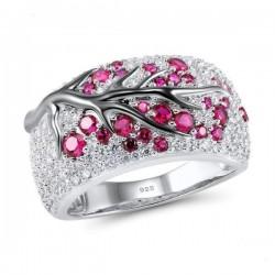 Kwiaty róży - luksusowy srebrny pierścionek z cyrkonią