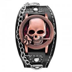 Zegarek kwarcowy z czaszką - skórzany pasek - unisex
