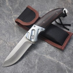 Mini pocket knife with wooden handle - foldable 15cm