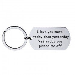 Love You More Today Than Yesterday - brelok ze stali nierdzewnej