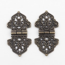 Vintage hollow flowers - alloy furniture hinges - 2 pieces