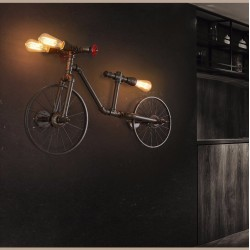 Bicycle & water pipe - vintage LED Edison light - wall lamp
