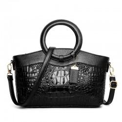 Luksusowa skórzana torebka z wzorem krokodyla i odpinanym paskiem na ramię