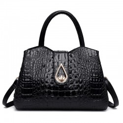 Luxury shoulder bag with crocodile pattern & detachable strap & decorative hasp