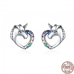 Heart shaped crystal unicorn - silver earrings