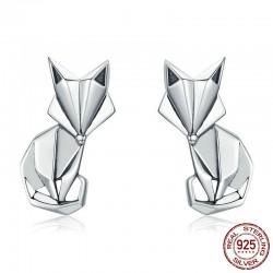 Geometryczny lis - modne srebrne kolczyki
