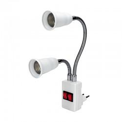 E27 - doppia testa - base lampada flessibile - convertitore - portalampada