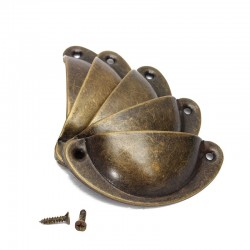 Schalenförmige Möbelgriffe mit Schrauben - 8 Stück