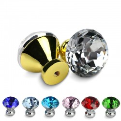 Furniture handles with screws - crystal knobs - 30mm - 5 pieces