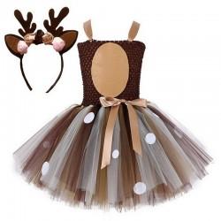 Renifer Świętego Mikołaja - kostium dziewczęcy - sukienka - komplet